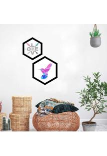 Kit 2 Quadros Com Moldura Hexagonal Love