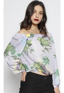 Blusa Ciganinha Tropical- Lilã¡S & Verde Escuro- Charcharry