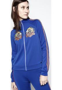 Jaqueta De Tigres Com Recortes - Azul Escuro & Laranja