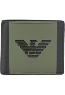 Emporio Armani Carteira Color Block Com Logo Bordado - Preto