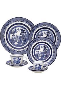 Aparelho De Jantar Oxford Flamingo Blue Willow 42 Peças Porcelana