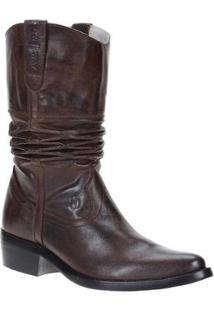 Bota Couro Sanfonada Texana Cow Way 20 Masculina - Masculino-Cafe