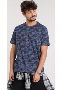 Camiseta Masculina Estampada Coqueiros Manga Curta Gola Careca Azul Marinho