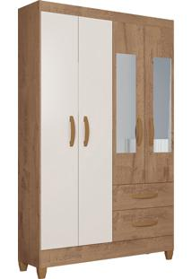 Guarda Roupa Real 4 Portas C/ Espelho Canelato Rústico/Natura Off White Atualle Móveis - Tricae