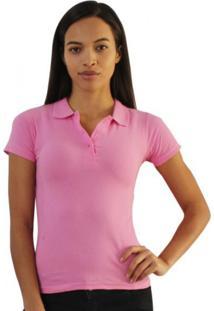 Camiseta Versatti Aline Polo Básica Rosa