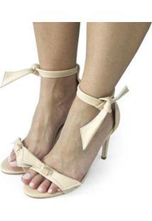 Sandalia Dali Shoes Salto Alto Fino Amarração Feminina - Feminino-Bege