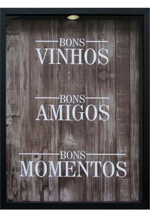 Quadro Porta Rolhas 32X42X4 Bons Vinhos-Kapos - Preto