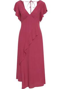 Vestido Midi Babado Assimétrico Maria Filó - Vinho