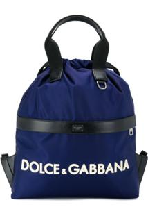 Dolce & Gabbana Mochila Com Estampa De Logo - Azul
