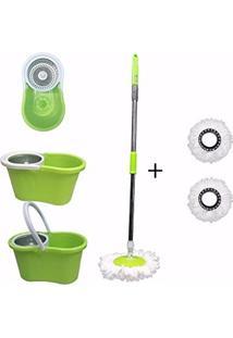 Mop Inox Balde 2 Refil Com Esfregão Microfibra Segma Verde