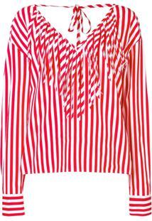 Msgm Striped Blouse - Vermelho