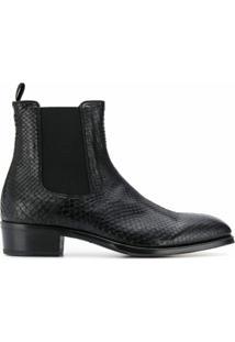 Alexander Mcqueen Ankle Boot Texturizado - Preto