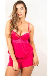Baby Doll Bella Fiore Modas Com Bojo Tecido Canelado Pink - Pink - Feminino - Poliã©Ster - Dafiti