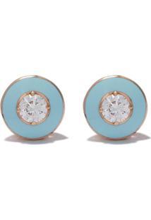 Selim Mouzannar Par De Brincos De Ouro Rosa 18K Com Diamante - Pink Gold Light Blue Enamel