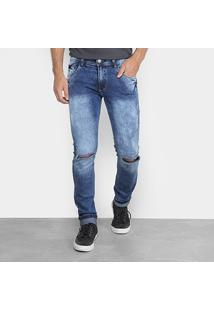 Calça Jeans Skinny Destroyed Coffee Masculina - Masculino-Jeans