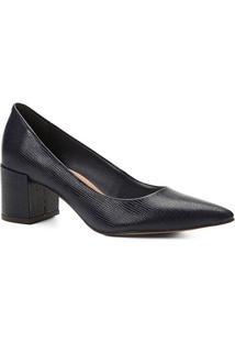 Scarpin Couro Shoestock Salto Médio Lezard - Feminino-Marinho