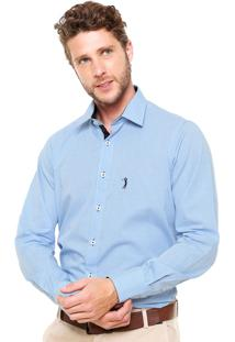 Camisa Aleatory Vichy Slim Azul