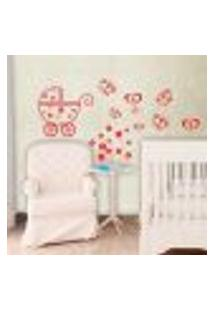 Adesivo De Parede Cartelas Infantil Carrinho De Bebe - P 20X50Cm