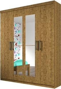 Guarda Roupa Olimpo 4 Portas Com Espelho Imbuia Rustic