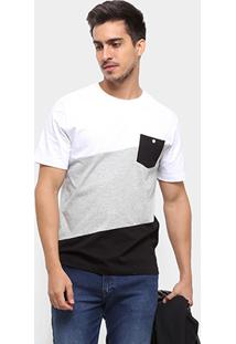 Camiseta Cavalera Diagonal Bolso Masculina - Masculino-Branco