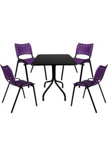 Jogo De Mesa Fixa 70 Por 70 Tampo Preto 4 Cadeiras Roxa Plástico