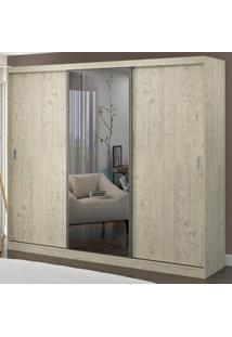 Guarda-Roupa Casal 3 Portas Com 1 Espelho 100% Mdf 1902E1 Marfim Areia - Foscarini