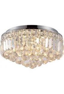 Plafon De Vidro Kri 24Cmx40Cm Bella Iluminação Transparente E Cromado