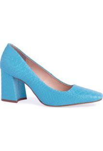 Scarpin Salto Bloco Bico Quadrado Marjorie Azul