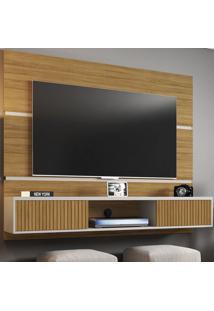 Painel Para Tv Até 60 Polegadas 2 Portas Basculantes Âmbar Cinamomo/Off White/Ripado - Móveis Bechara