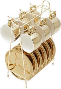 Conjunto Xícaras De Café Com Pires Em Porcelana Branco E Dourado Versa Wolff 90Ml Com 6 Peças