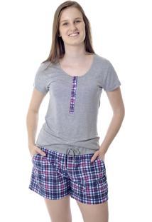 Pijama Gestante E Amamentação Feminino Xadrez Mania Pijamas