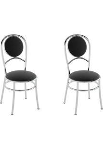 Kit 2 Cadeiras Pc03 Assento Nobuck Preto - Pozza