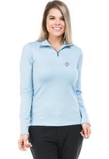 Camisa Térmica Para Frio Com Gola Alta Extreme Uv - Feminino-Azul Claro
