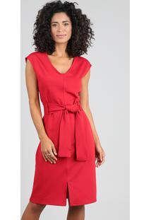 Vestido Feminino Curto Com Pespontos E Faixa Para Amarrar Vermelho