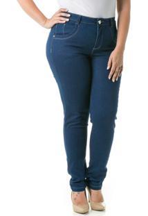46adb440c R$ 189,90. Netshoes Calça Confidencial Extra Plus Size Jeans Skinny Cetim  ...