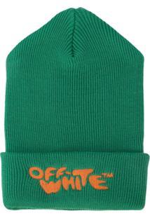 Off-White Gorro Jacquard Com Logo - Verde