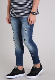 Calça Jeans Masculina Super Skinny Cropped Destroyed Azul Escuro