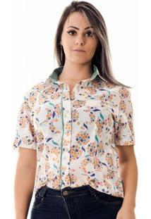 Camisa Pimenta Rosada Adri Floral - Feminino-Branco+Verde