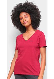 Blusa Calvin Klein Slim Logo Gola V Feminina - Feminino-Vermelho Escuro
