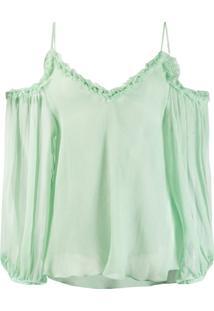 Stella Mccartney Blusa Com Recortes Nos Ombros - Verde