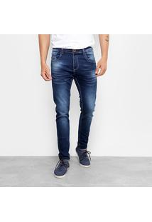 Calça Jeans Skinny Rock Blue Bigode Elastano Masculina - Masculino