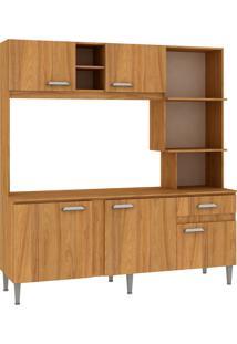 Cozinha Compacta Mell 5 Portas Com Tampo Nogal - Fellicci