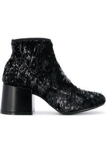 Mm6 Maison Margiela Ankle Boot De Couro Com Aplicação De Paetês - Preto