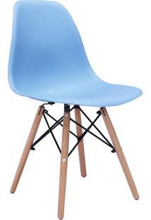 Cadeira Sem Braço Pp Base De Madeira Eiffel -Rivatti - Azul