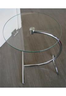 Mesa Auxiliar Arco Glass Vidro Liso Cromada - 3552