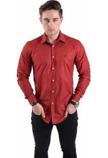 Camisa Social Horus Slim 1005 Masculina - Masculino-Vermelho Escuro