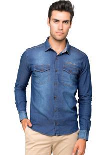 Camisa Manga Longa Tony Menswear Jeans Slim Fit Com Elastano