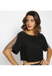 Blusa Cropped Com Correntes- Preta & Prateadamurau