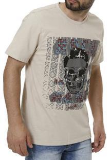 Camiseta Vels Manga Curta Masculina - Masculino-Bege