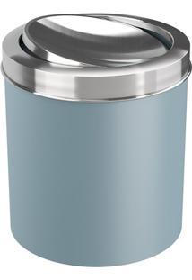 Lixeira Com Tampa Basculante- Inox & Azul Claro- 21,Coza